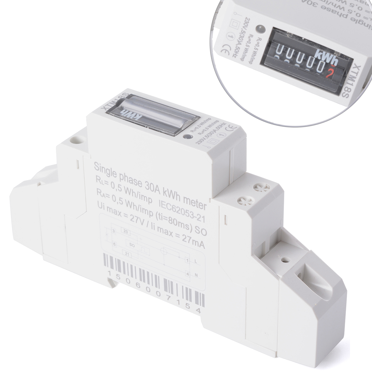 hot 50hz 5 30 a kwh meter din rail mounted single phase power meter bi041 ebay. Black Bedroom Furniture Sets. Home Design Ideas