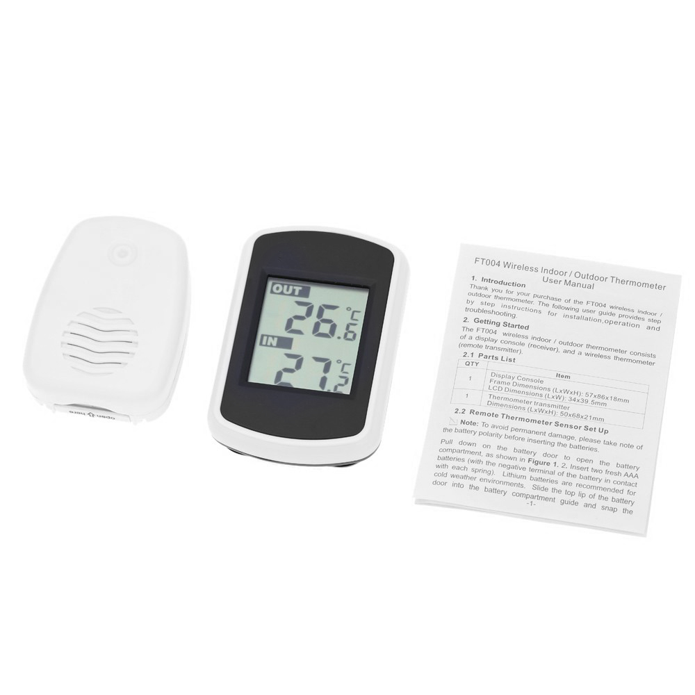 digital lcd innen au en thermometer wireless funk wetterstation sensor hs851 ebay. Black Bedroom Furniture Sets. Home Design Ideas
