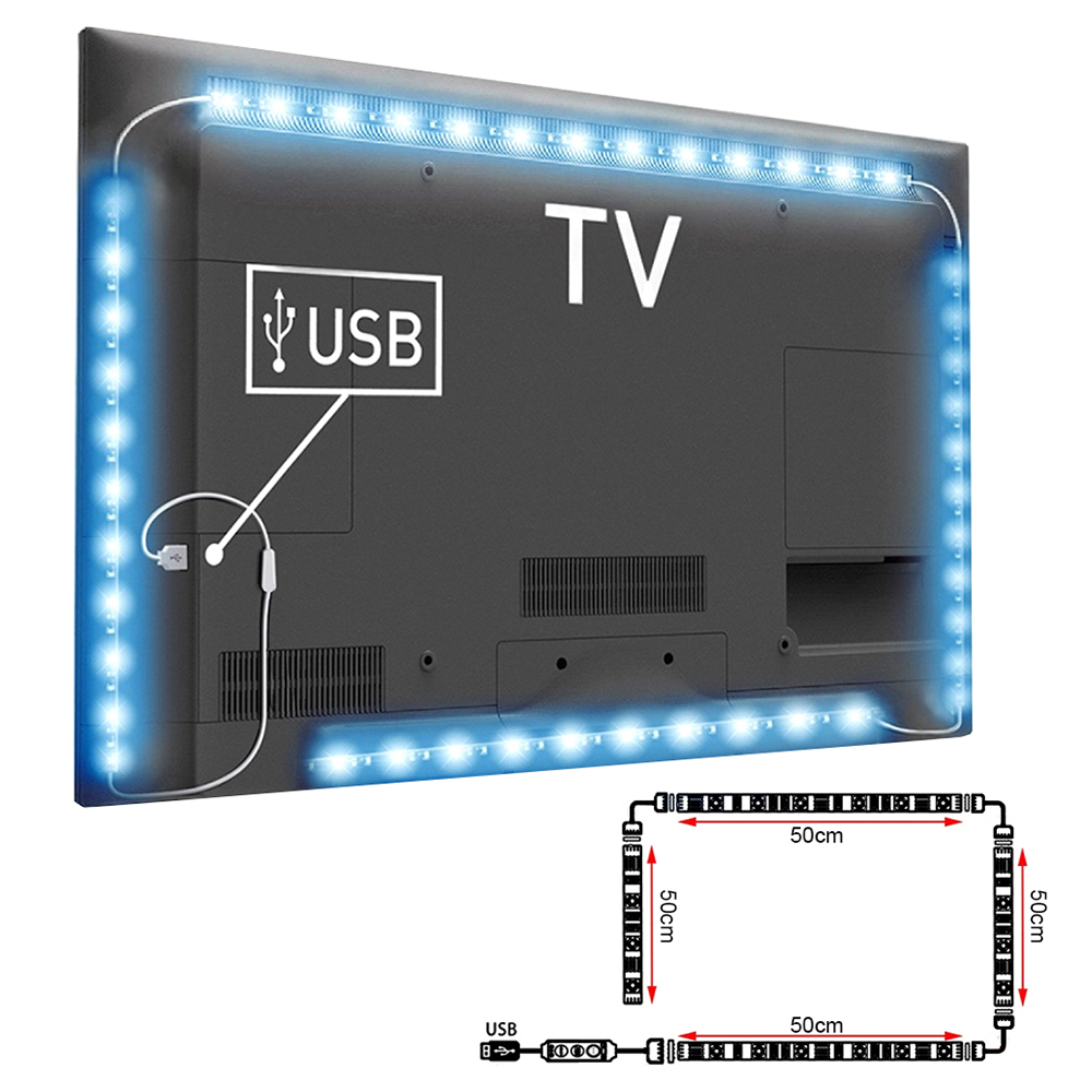 4x 50cm usb rgb colour changing led strip tv background back light remote ld1010 ebay. Black Bedroom Furniture Sets. Home Design Ideas
