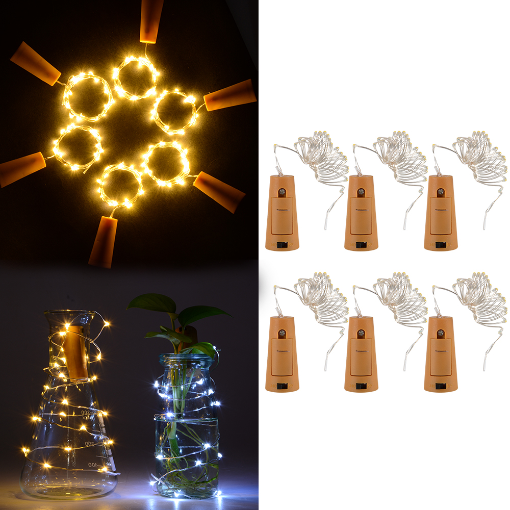 6pcs 1 2m Led Copper Wire Stopper Cork Shaped Led Night