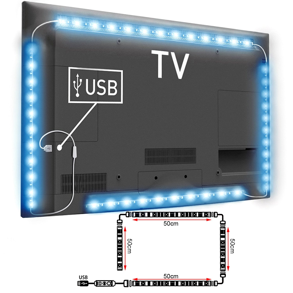 2 4pcs 40 50 60cm usb led 5050 rgb smd strip light lamp kit tv backlight remote ebay. Black Bedroom Furniture Sets. Home Design Ideas