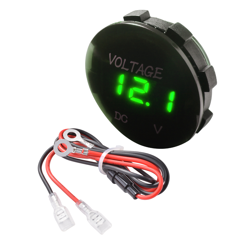 Battery Voltage Monitor : Green led display v car motorcycle gauge voltmeter