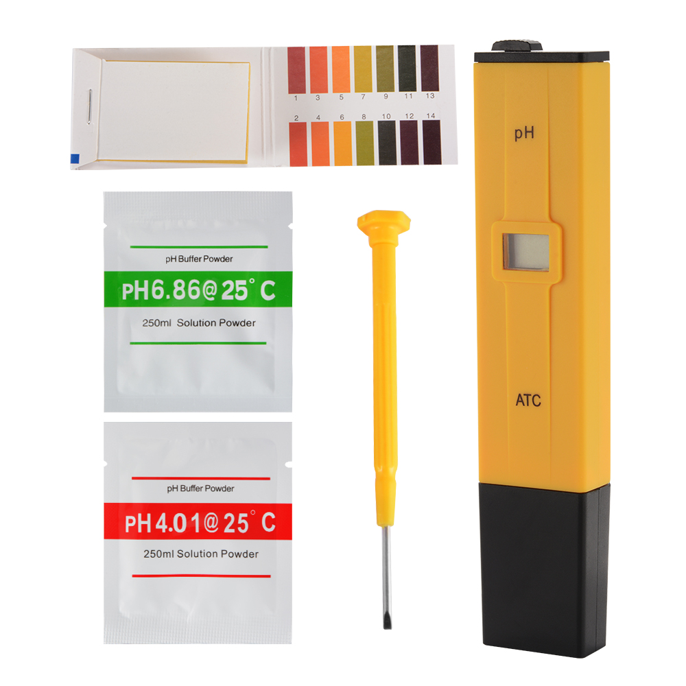 Digital pH Meter Tester with PH 0-14 Test Paper and Calibration Powder TH925